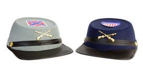 同盟者和联合南北战争服装帽子 免版税库存图片