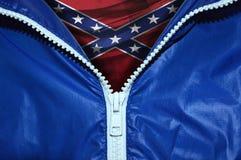 同盟者的旗子在被打开的拉链下的 免版税库存照片