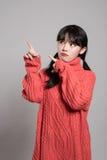 20名亚裔妇女演播室画象艰难的困境的 免版税库存图片