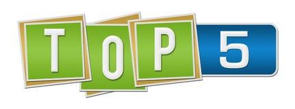 名列前茅五青绿的角形材 免版税库存照片