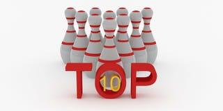 名列前茅滚保龄球的10九柱游戏用的小柱在白色背景 免版税库存图片