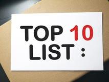 名列前茅10名单,诱导词行情概念 免版税库存照片