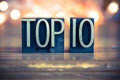 名列前茅10概念金属活版类型 免版税库存照片