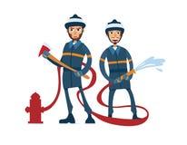 2名动画片消防队员 库存图片