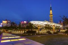 名古屋与名古屋塔的市地平线在日本 库存图片