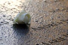 名字和一朵玫瑰在9/11纪念品 免版税库存照片