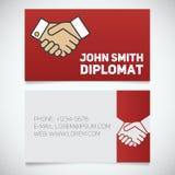 名片与握手商标的印刷品模板 库存照片