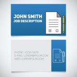 名片与签字的合同和笔商标的印刷品模板 免版税库存图片