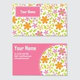名片传染媒介与橙色和桃红色花的设计模板文具卡片的 免版税库存照片