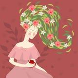 年轻美女画象有花的 名片的模板,广告,飞行物,网络设计 库存例证