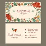 名片 与逗人喜爱的手拉的花卉样式的名片 免版税库存照片