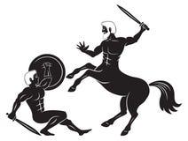 名骑手和赫拉克勒斯 库存图片