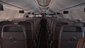 后侧方视图现代大班机客舱人民休息并且看电视做飞行 股票视频