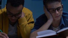 后做家庭作业的两名困学生在晚上,为检查做准备,教育 股票视频