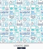 后勤企业墙纸 交付和发行无缝的样式 免版税库存图片