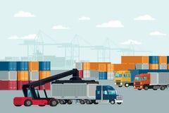 后勤学容器货物进出口的货物船 向量 向量例证