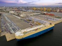 后勤学概念造船厂鸟瞰图  图库摄影