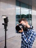 后台摄影设备照相机闪光 免版税库存照片