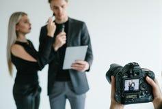 后台配合录影摄制照相机概念 图库摄影