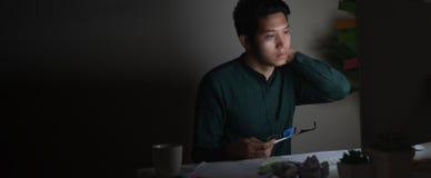 后工作在晚上的可爱的年轻亚裔人看在工作负担疲倦的黑暗的家庭办公室书桌感觉的手提电脑或 免版税库存图片