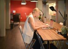 后工作,使用一台膝上型计算机的企业白肤金发的女孩在办公室 免版税库存图片