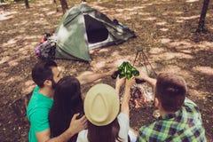 后方加满敬酒在的一个营地的观点的四个朋友 库存照片