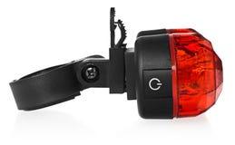 后方自行车灯,在红颜色的塑料 库存图片
