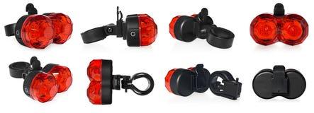 后方自行车灯,在红颜色的塑料 免版税库存图片