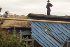 后果龙卷风白俄罗斯 免版税库存图片