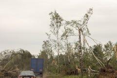 后果龙卷风白俄罗斯 库存照片
