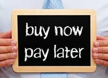 后现在购买和薪水-购物和财务 免版税库存照片