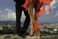 后边舞蹈家妇女和城市scape的美好的腿 免版税库存图片