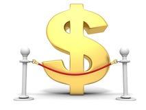 后边金黄美元的符号的红色绳索障碍 免版税库存图片