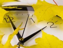 后退,冬时 时钟和黄色叶子 免版税库存照片