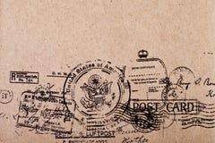 后部空白葡萄酒明信片 免版税库存照片