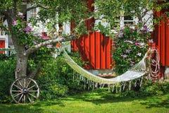 后院区域的图片与吊床和老葡萄酒细节的在绿草 库存图片