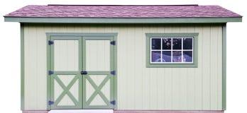 后院木存贮棚子,查出在白色 免版税库存照片