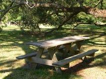 后院野餐桌 免版税库存图片
