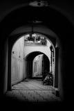后院黑色minich窗框葡萄酒白色 库存图片