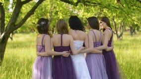 从后面情感新娘和女傧相看那谈话和微笑 紫色礼服摆在的白种人女孩 股票录像