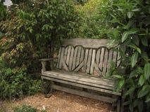 后面架靠背长凳被塑造的重点公园 免版税库存照片
