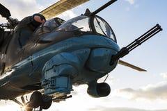后面的攻击用直升机24的驾驶舱 库存图片