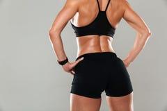 后面看法播种了一名健康肌肉妇女的图象 库存照片