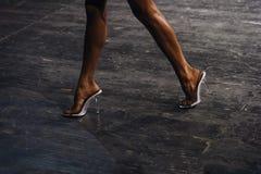 后面苗条腿妇女健身比基尼泳装体型竞争 免版税库存照片