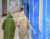 后面观点的两个人,有圆锥形有冠乌鸦的佩带的毛线衣走在农村街道上在冬天期间 免版税库存照片
