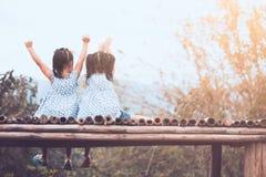 后面观点的两个儿童女孩提高他们胳膊坐 库存照片