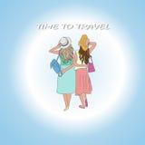 后面观点的两妇女在度假放松 免版税库存图片