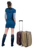 后面观点的带着手提箱的旅行的深色的妇女 图库摄影