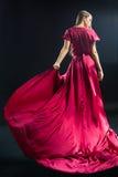 后面观点的明亮的桃红色礼服的年轻白肤金发的妇女 免版税库存图片