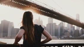 后面观点的有吹在风的头发的美丽的女孩倾斜反对河堤防篱芭在布鲁克林大桥4K附近 影视素材